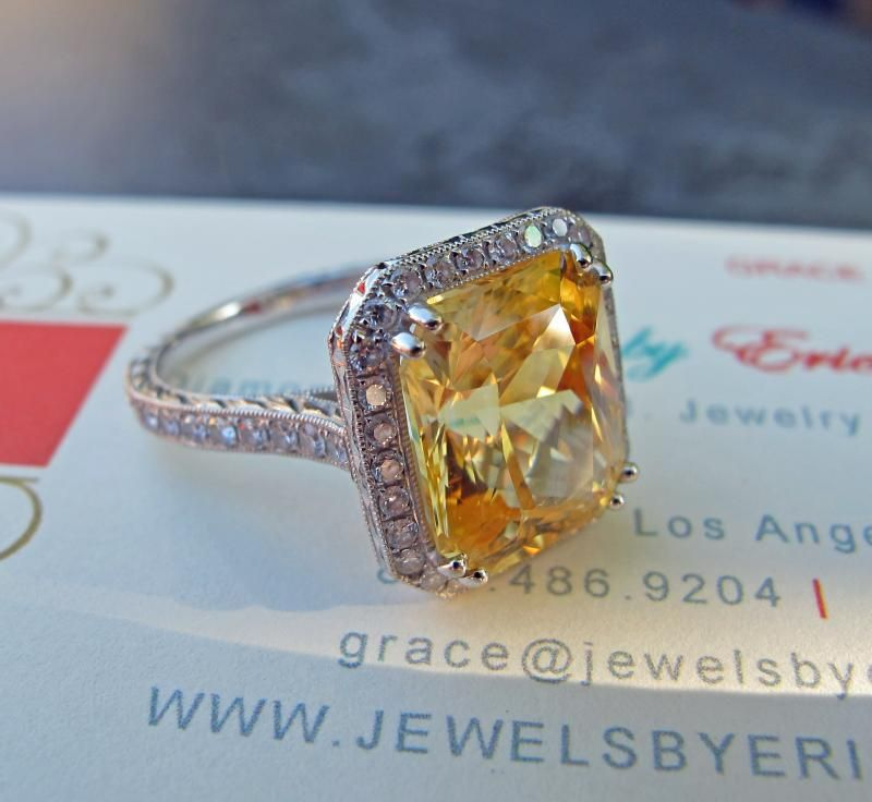 8.26CT YELLOW SAPPHIRE HALO RING, AGTA CERTFIED