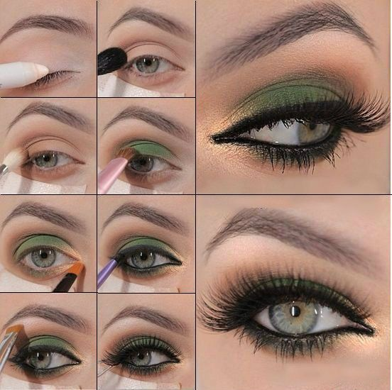Exceptionnel Tutorial make up occhi verdi | Ombretto occhi verdi | Pinterest  MG68