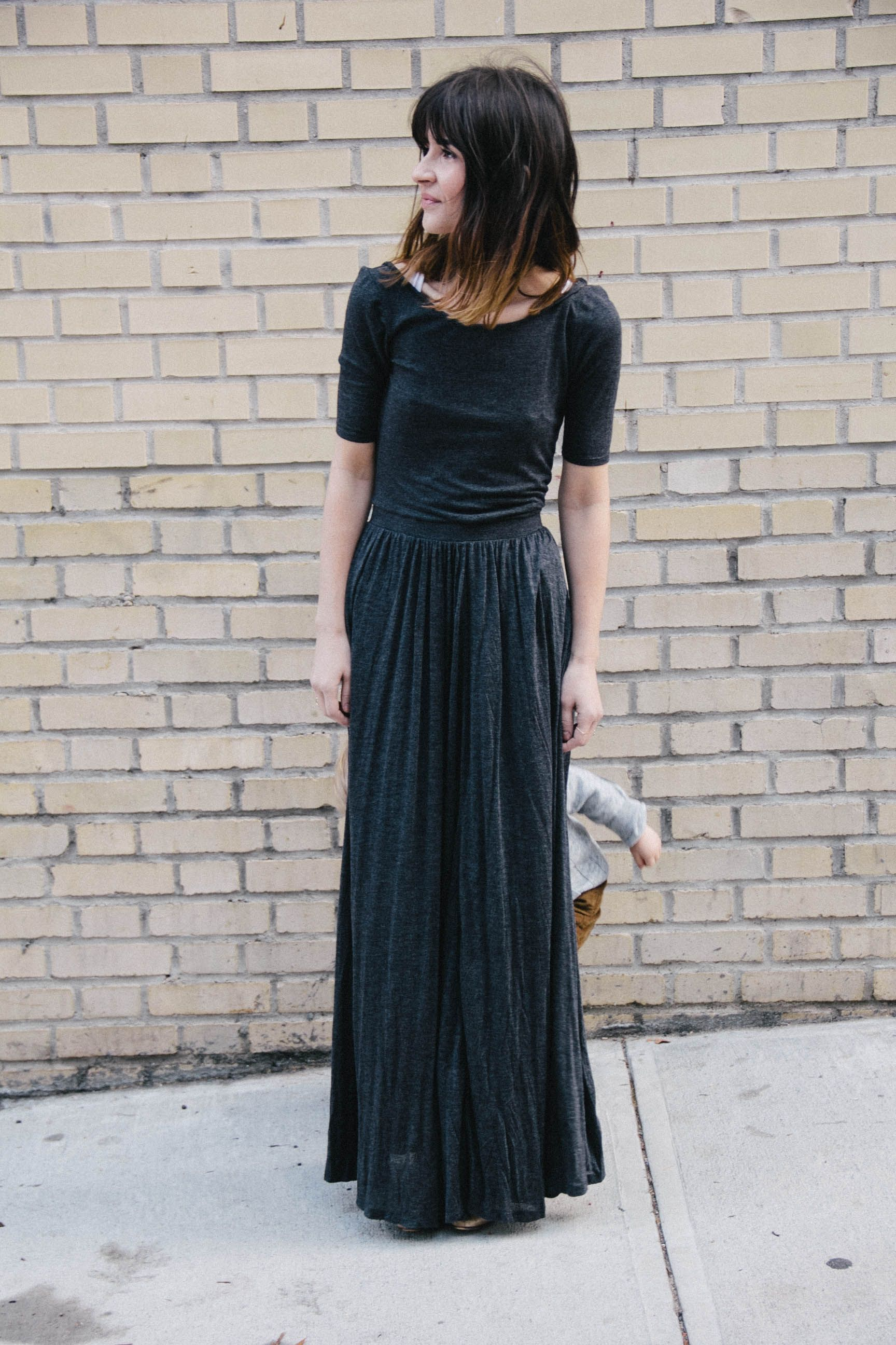 Simple black maxi dress how did i miss this at anthro mode