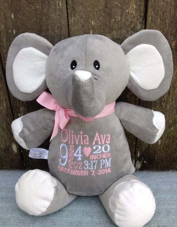 Monogrammed baby gift personalized baby by worldclassembroidery monogrammed baby gift personalized embroidered cubbies elephant personalized by world class embroidery photo prop wildlife zoo animal by negle Choice Image