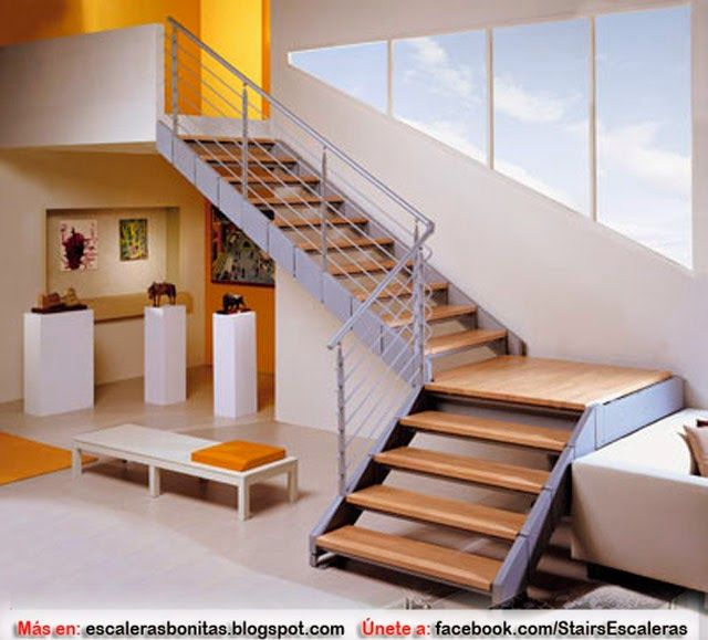 Escaleras para poco espacio escaleras pinterest for Escaleras metalicas para interiores de casas