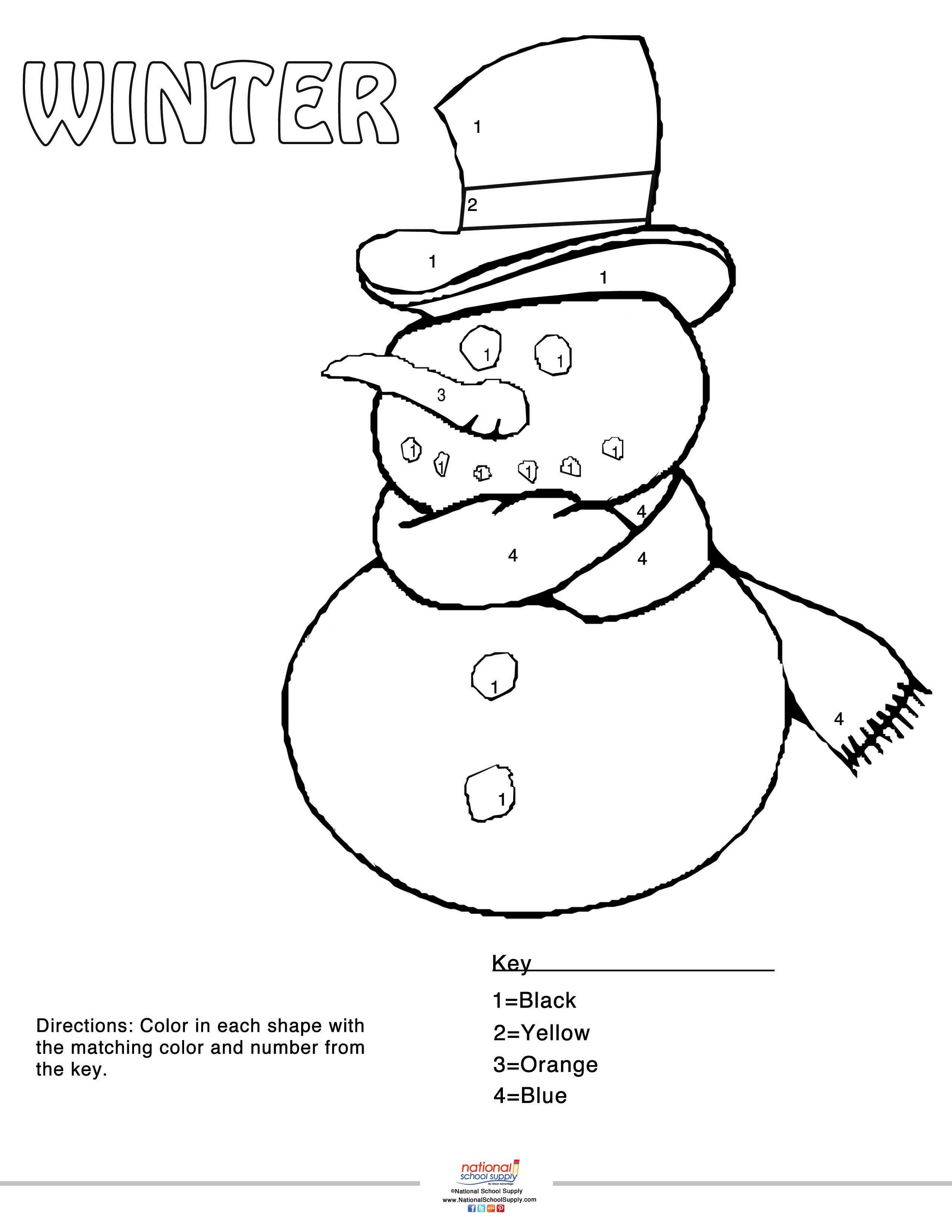 our winter color by number snowman printable printables snowman party school fun snowman. Black Bedroom Furniture Sets. Home Design Ideas