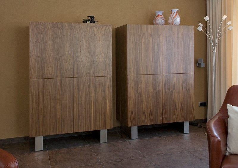Kasten Woonkamer Interieur : Woonkamer kasten in notenhout matim haard en interieur keuken