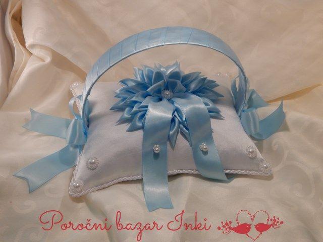 blue wedding ring pillow