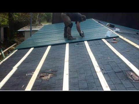 Metal Roof Over Shingles On A Mobile Home By Myself Youtube Metal Roof Over Shingles Metal Roof Installation Diy Metal Roof