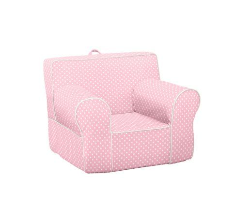Light Pink with White Piping Mini Dot Anywhere Chair | Pottery Barn Kids