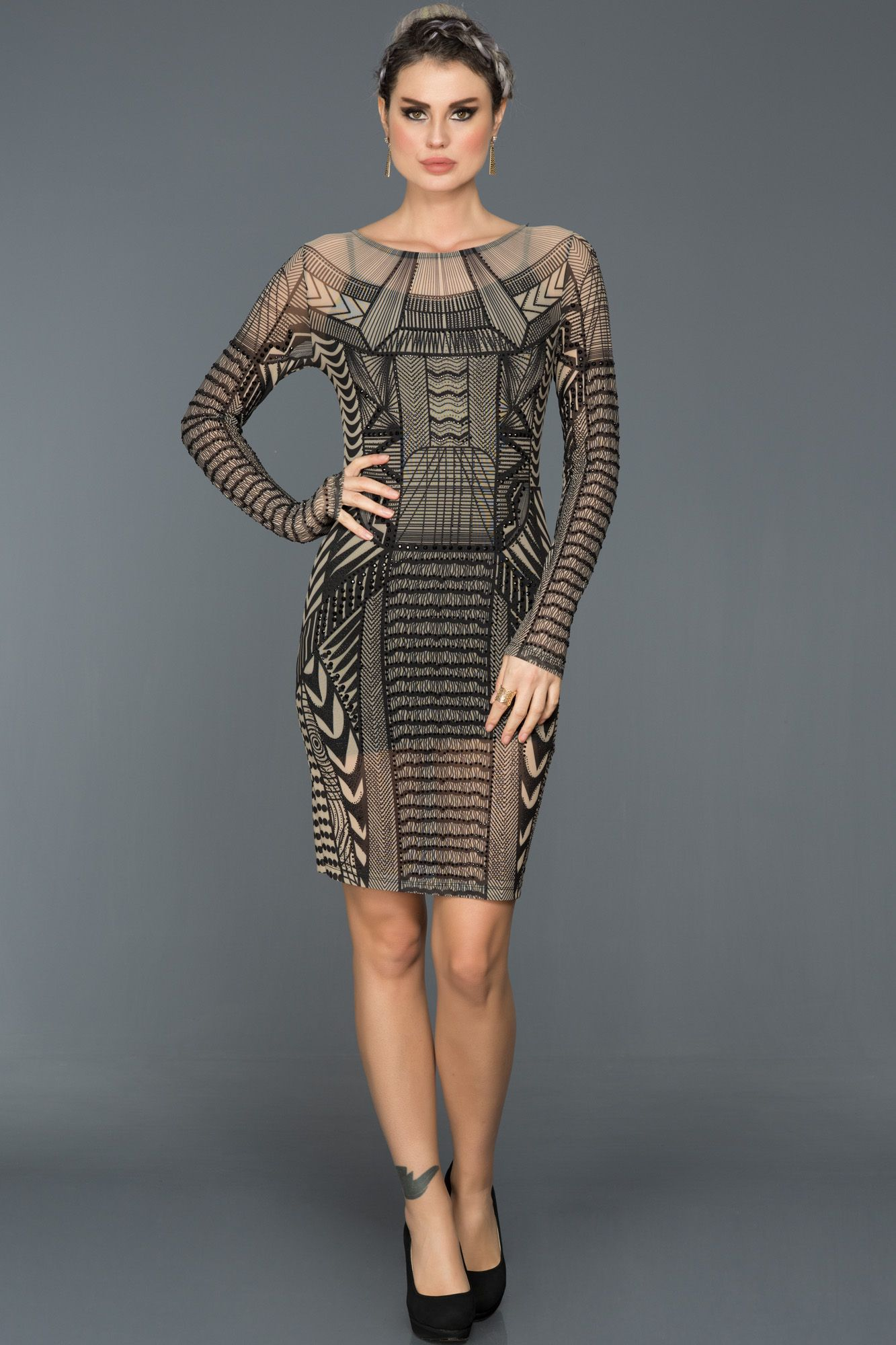 Siyah Ten Transparan Gece Elbisesi Kr53301 The Dress Moda Stilleri Kokteyl Elbisesi