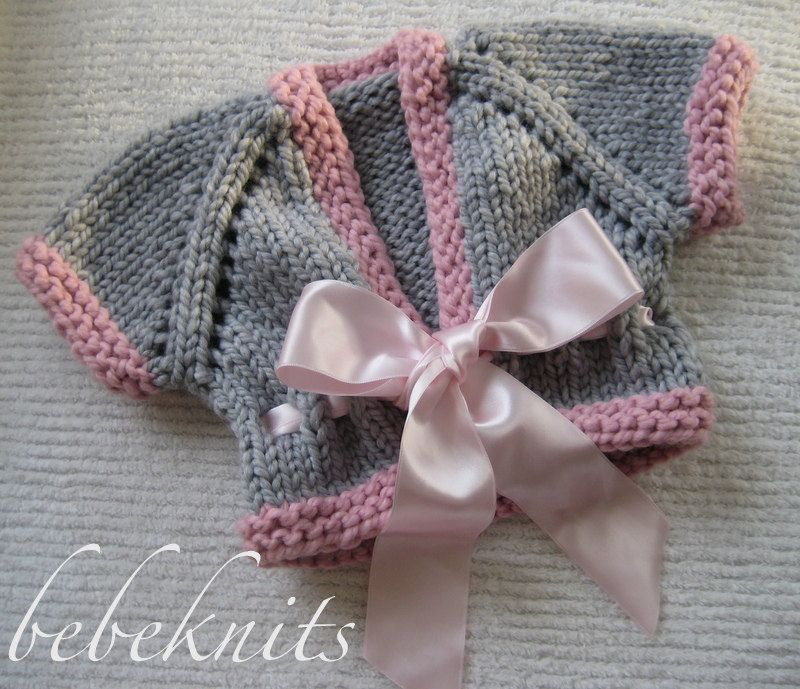40b079f3bddc Hand Knit Chunky Gray and Pink Ribbon Tie Baby Sweater.  35.00