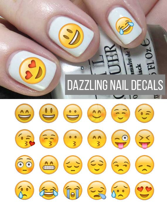 Face Emoji Nail Decals Set by DazzlingNailDecals on Etsy   Kennedy\'s ...