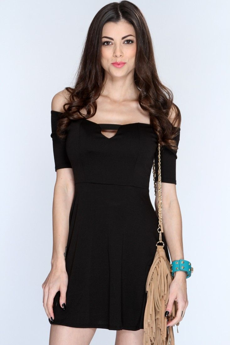 Black Off Shoulders A-Line Casual LBD
