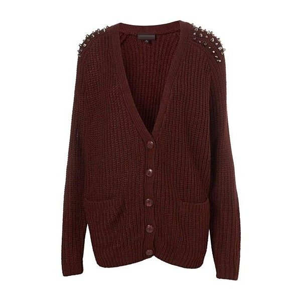 Winered Cardigan With Studded Shoulder (255 BRL) ❤ liked on Polyvore featuring tops, cardigans, sweaters, outerwear, jackets, studded top, studded cardigan, red cardigan, cardigan top and red top
