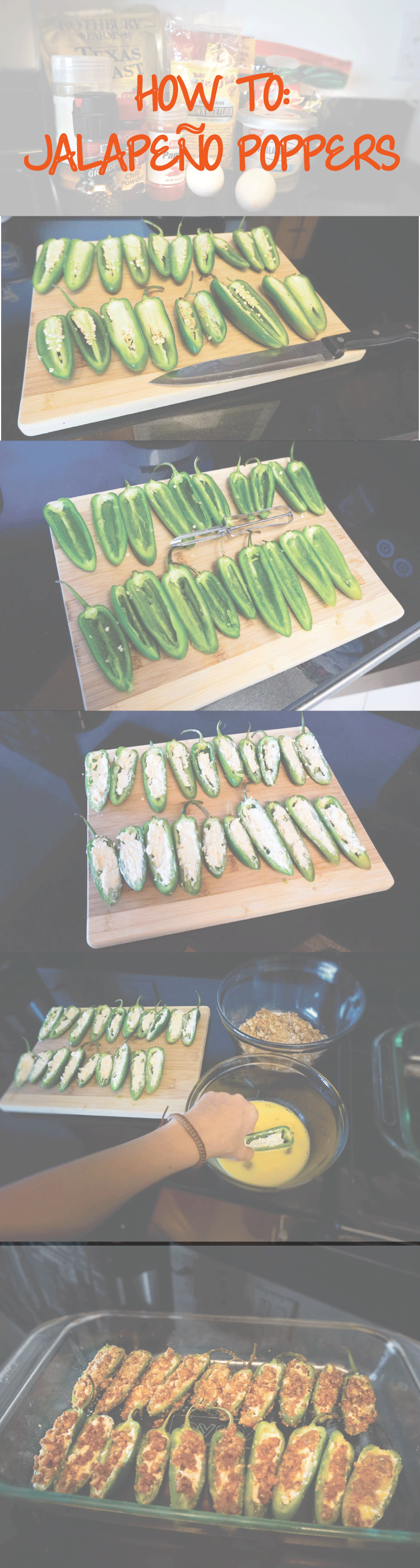 How To: Jalapeño Poppers a HEALTHIER version, not deep fat fried with fresh ingredients.  Great appetizer for entertaining!  instructions here: http://andivance.com/2015/02/04/how-to-jalapeno-poppers/