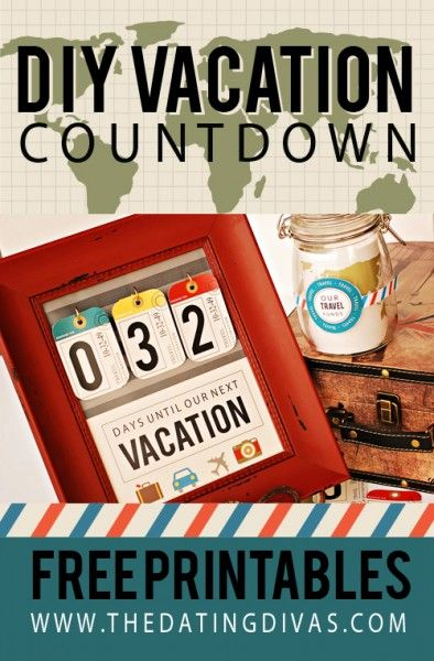 DIY Vacation Countdown Jar labels, Free printable and Count - countdown calendar template