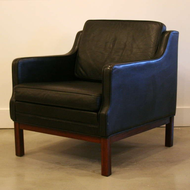 Charming Danish Vintage Black Leather Armchairs In Style Of Borge Mogensen     Fullhouse, Vancouver