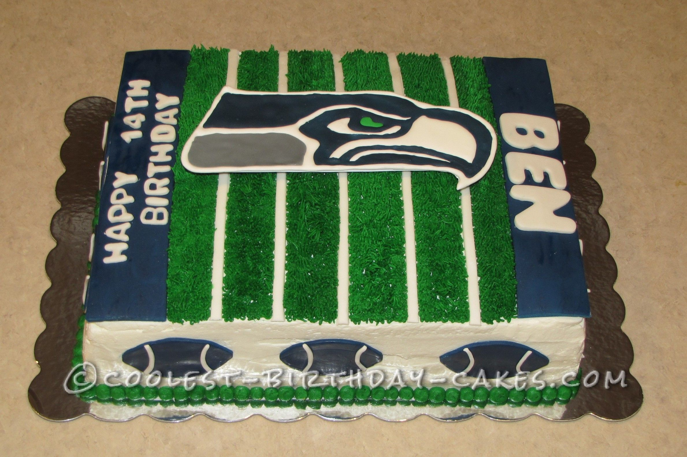Seattle Seahawks Football Birthday Cake