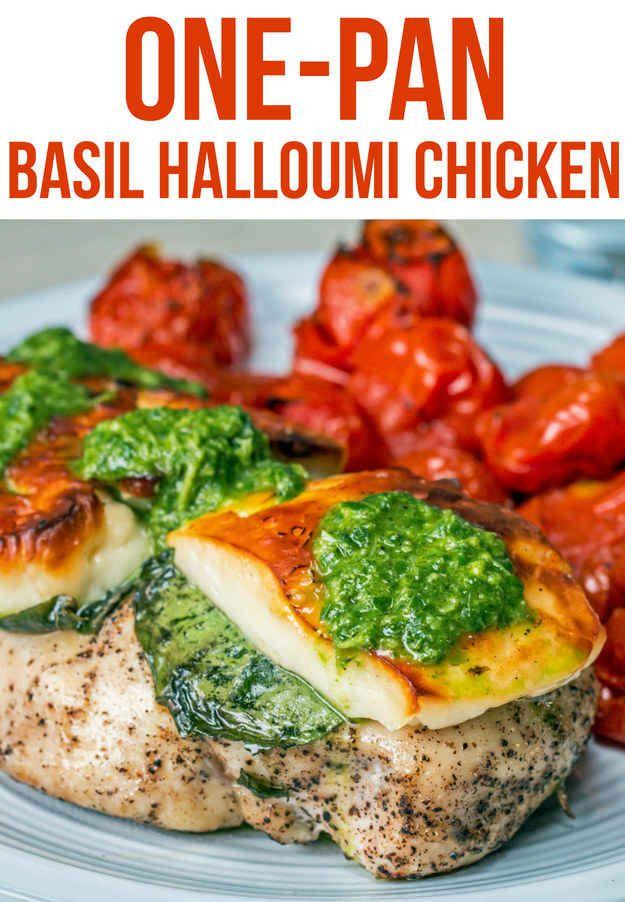 One Pan Basil Halloumi Chicken Recipe By Tasty Recipe Chicken Dishes Recipes Halloumi