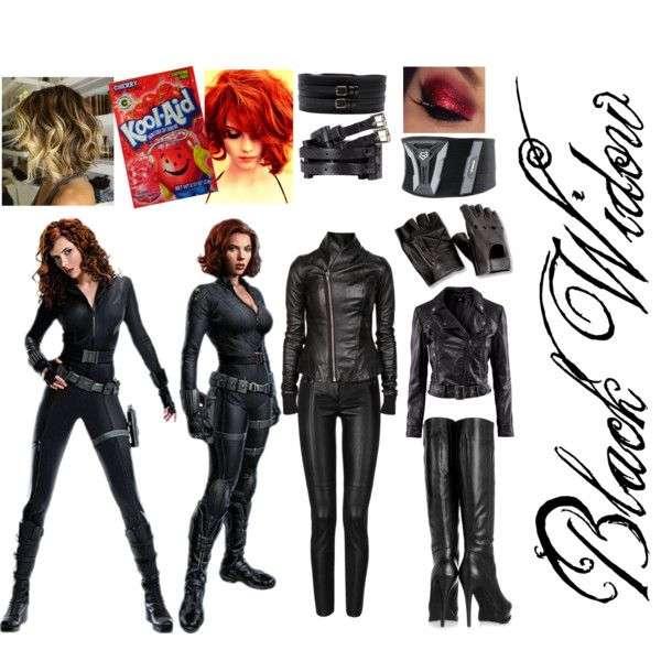 Black Widow Halloween Costume  by mikymou5 on Polyvore I did the Kool aid thing last summer it worked a little too well XD but this would be good for a ...  sc 1 st  Pinterest & Black Widow Halloween Costume | Pinterest | Black widow Halloween ...