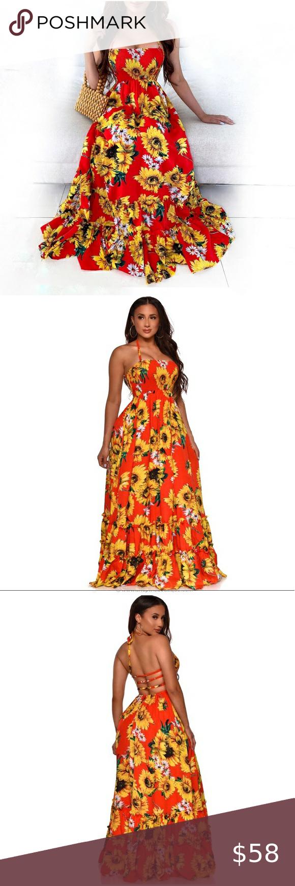 Sunflower Open Back Maxi Dress Sleeveless Sundress Fashion Coral Maxi Dresses Leopard Print Maxi Dress [ 1740 x 580 Pixel ]