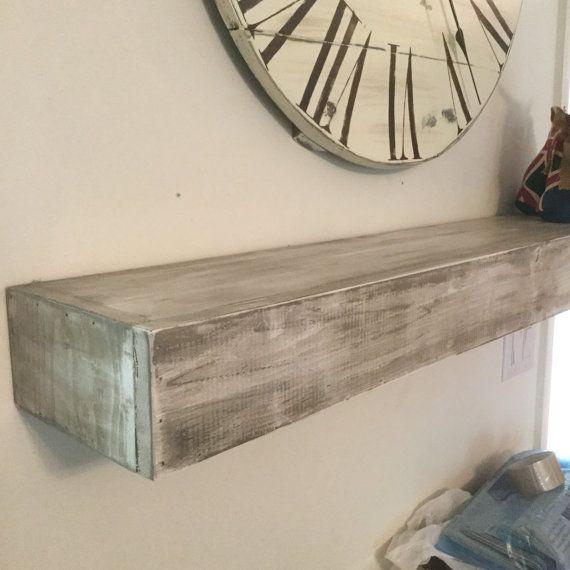Wood Floating Shelf White Distressed Handmade Rustic
