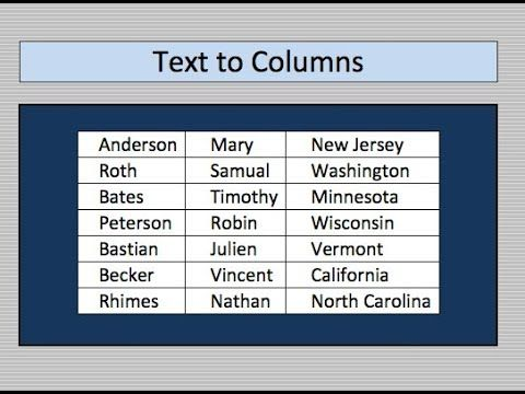 Text to Columns - Break apart cell data into individual cells Use