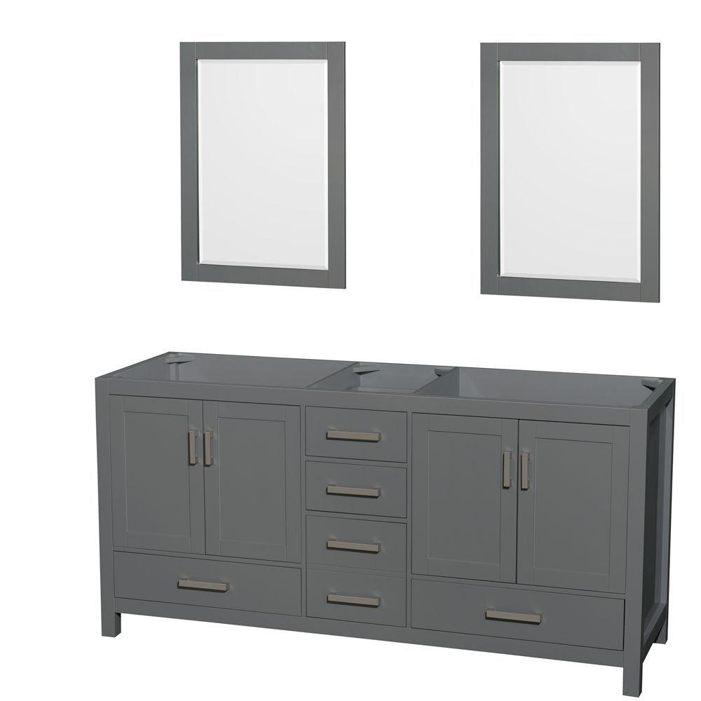 Sheffield 72 Inch Dark Gray Double Vanity No Top No Sink 24