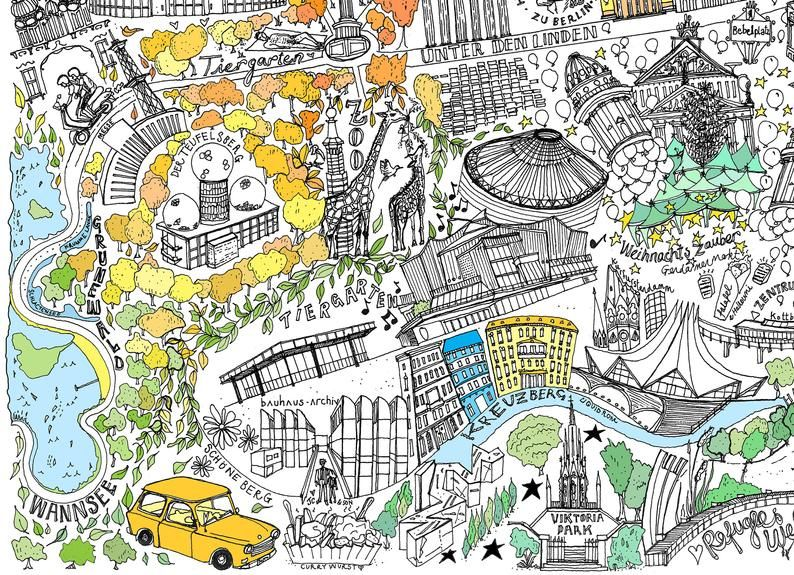 Berlin Illustrated Map Print In 2020 Illustrated Map Map Print Berlin