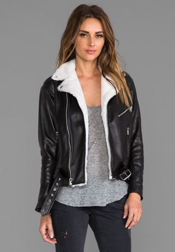 Laer Classic Leather Moto Jacket With Shearling In Black Revolve Jackets Casual Leather Jacket Classic Leather