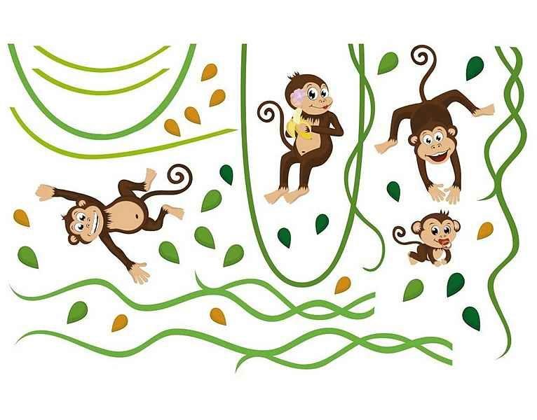 Bilderwelten Wandtattoo »Affenbande«, Wandtattoo aus