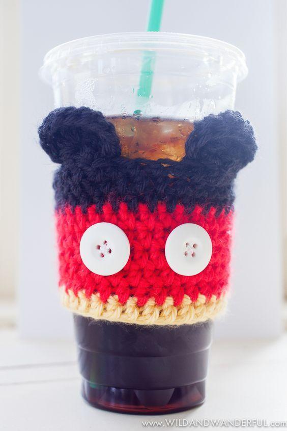 Mickey Mouse Coffee Cozy Free Crochet Pattern Pinterest