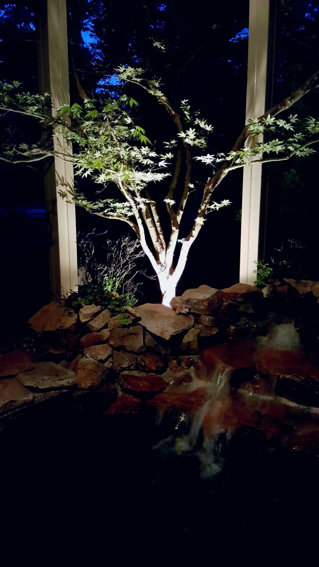 Garden landscape night  Night lighting  Outdoor  Pinterest  Exterior wall light and Gardens