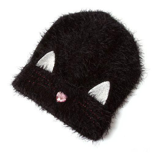 Furry Black Cat Beanie Cap | Claire's
