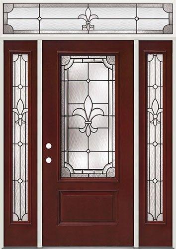 Fleur De Lis 3 4 Lite Pre Finished Mahogany Fiberglass Prehung Door Unit With Transom 48 Fiberglass Exterior Doors Fiberglass Entry Doors Fiberglass Door