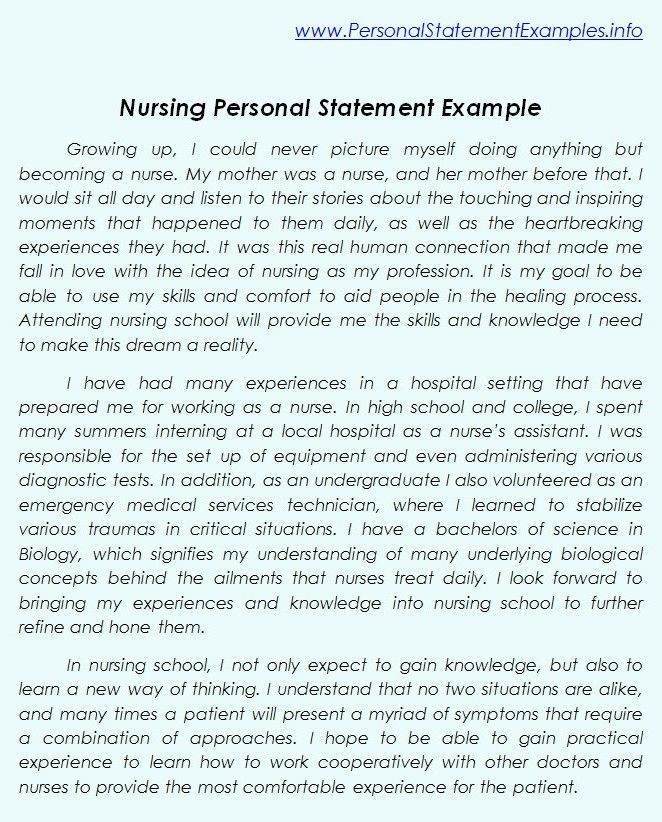 nursing job application personal statement examples
