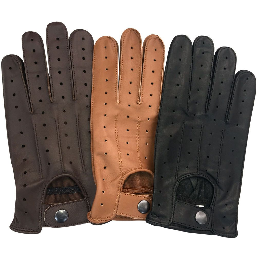 Quality leather driving gloves - Mens Leather Soft Driving Gloves Retro Style Top Quality Comfort Chauffeur 7011