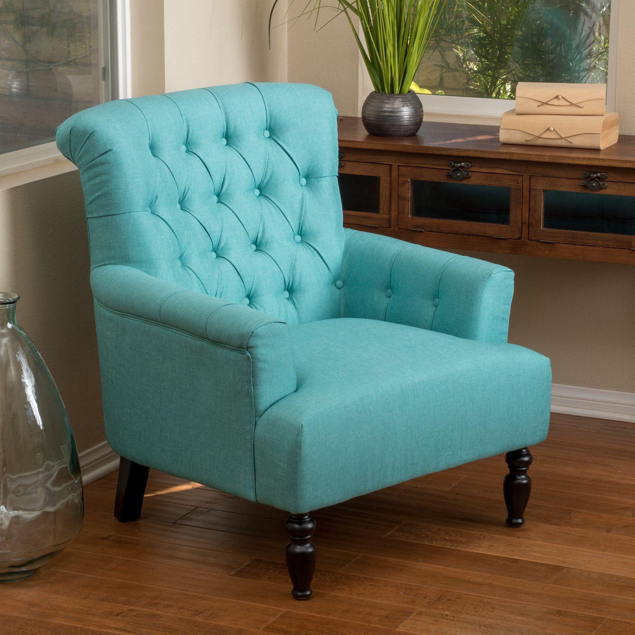 Harvey Teal Fabric Club Chair