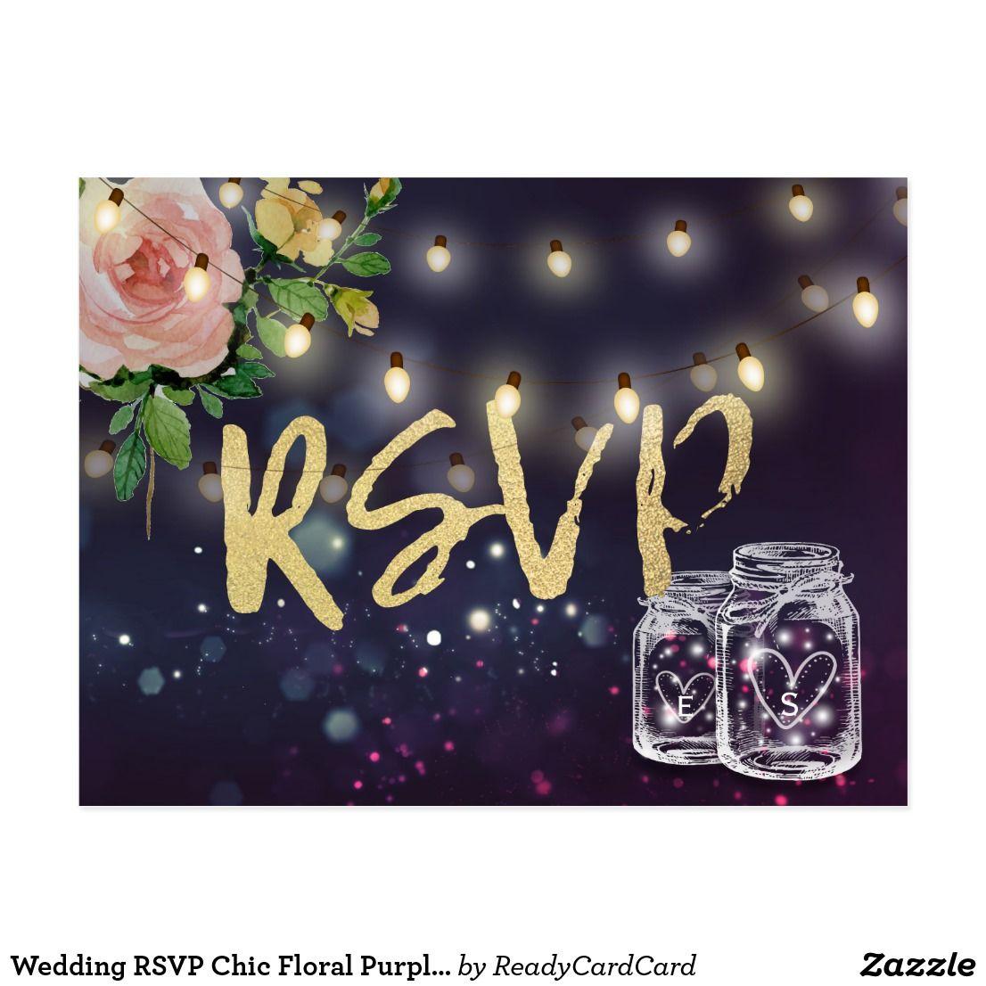 Wedding RSVP Chic Floral Purple Lights Gold Script