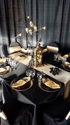 black and gold party table decorations - Google Search