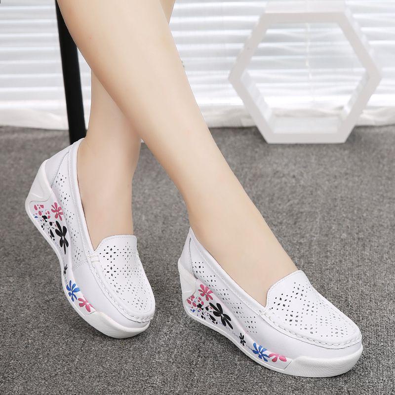 2016 Letnie Buty Damskie Platforma Pielegniarka Buty Kobiety Prawdziwej Skory Evelator Przypadkowi Buty Hollow Klin Casual Shoes Women Women Shoes Womens Boots