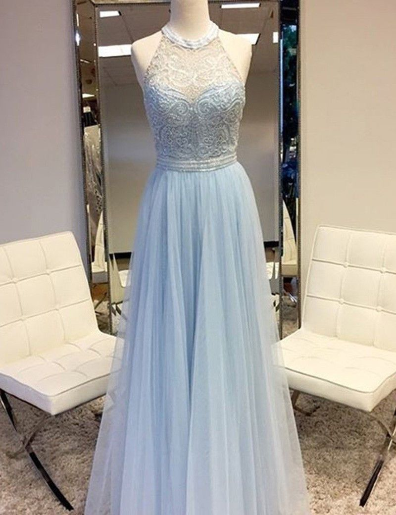 Aline round neck sleeveless floor length blue prom dress with lace