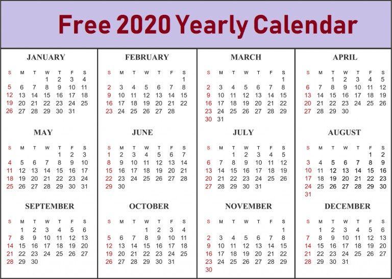 Printable Yearly Calendar 2020 Di 2020