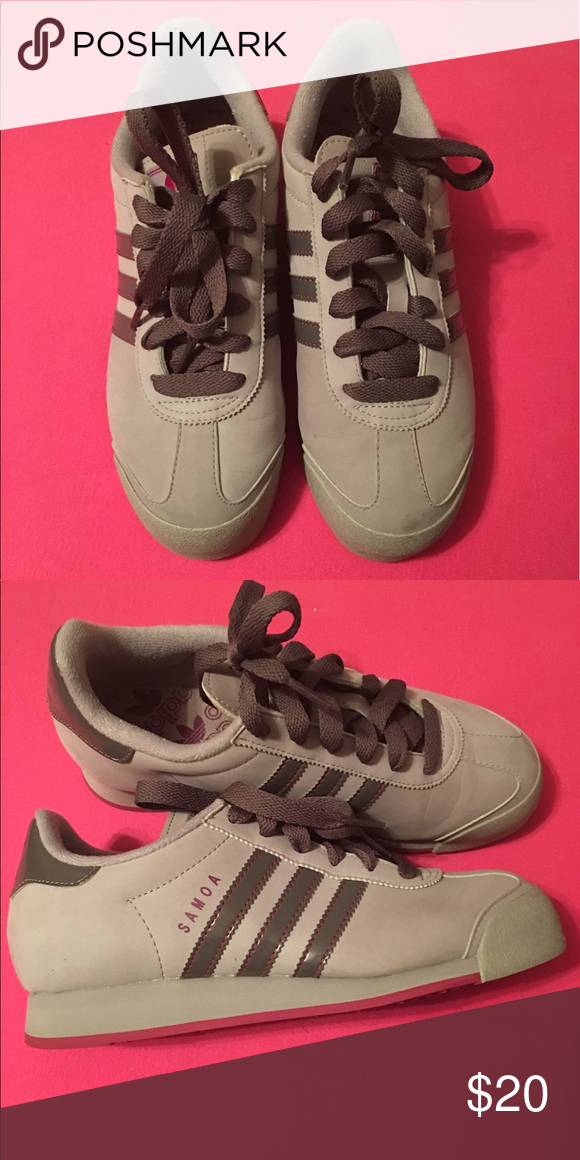 56ab860e5aa5 Grey Adidas Samoa Ladies 6.5 Grey with Purplish accents still in great  condition adidas Shoes Athletic Shoes