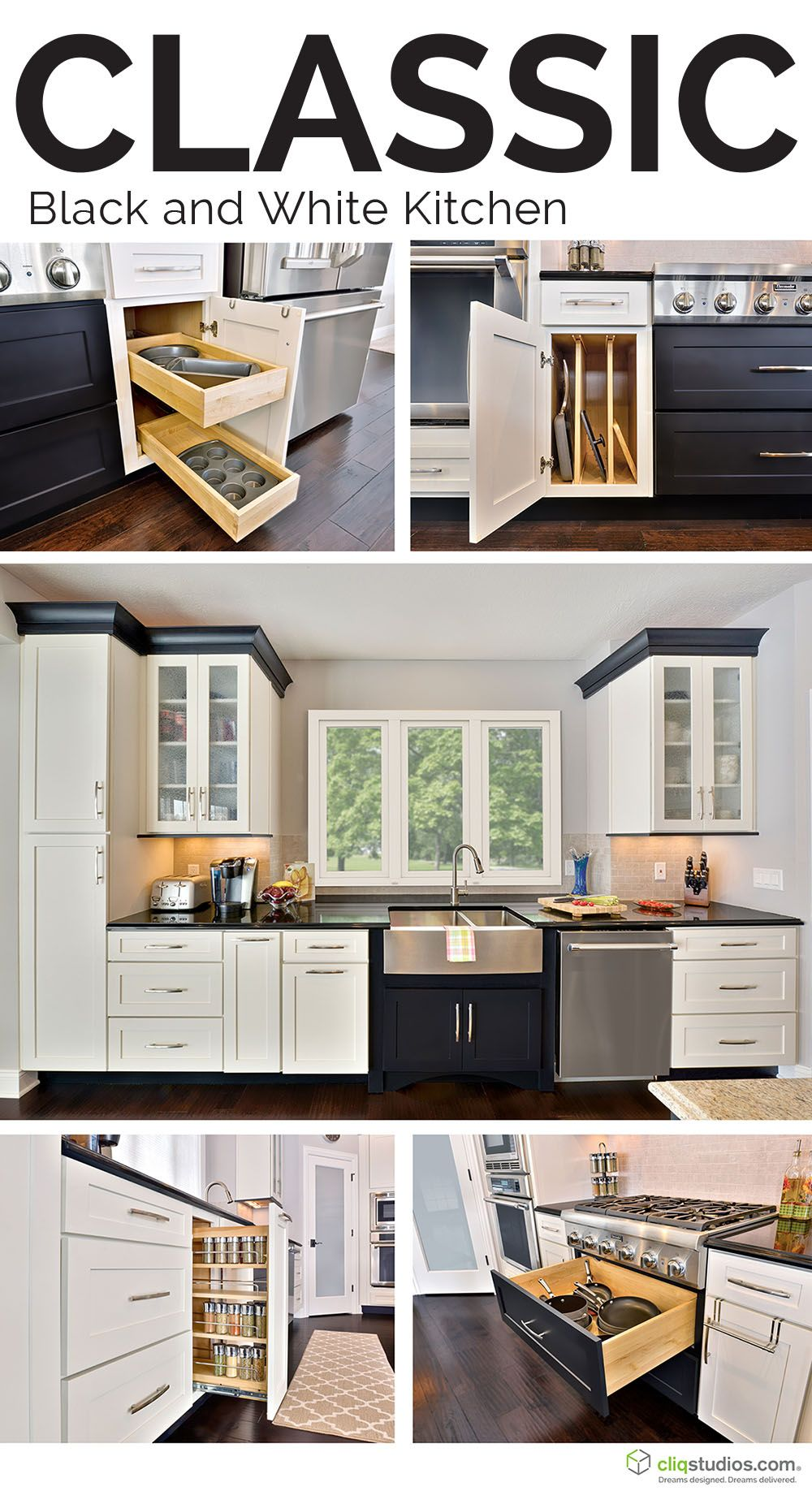 Dramatic Black And White Kitchen Featuring Dayton Painted White And Painted Carbon Cabinetry And Kitchen Storage Solut New Homes Tiny House Plans Kitchen Style