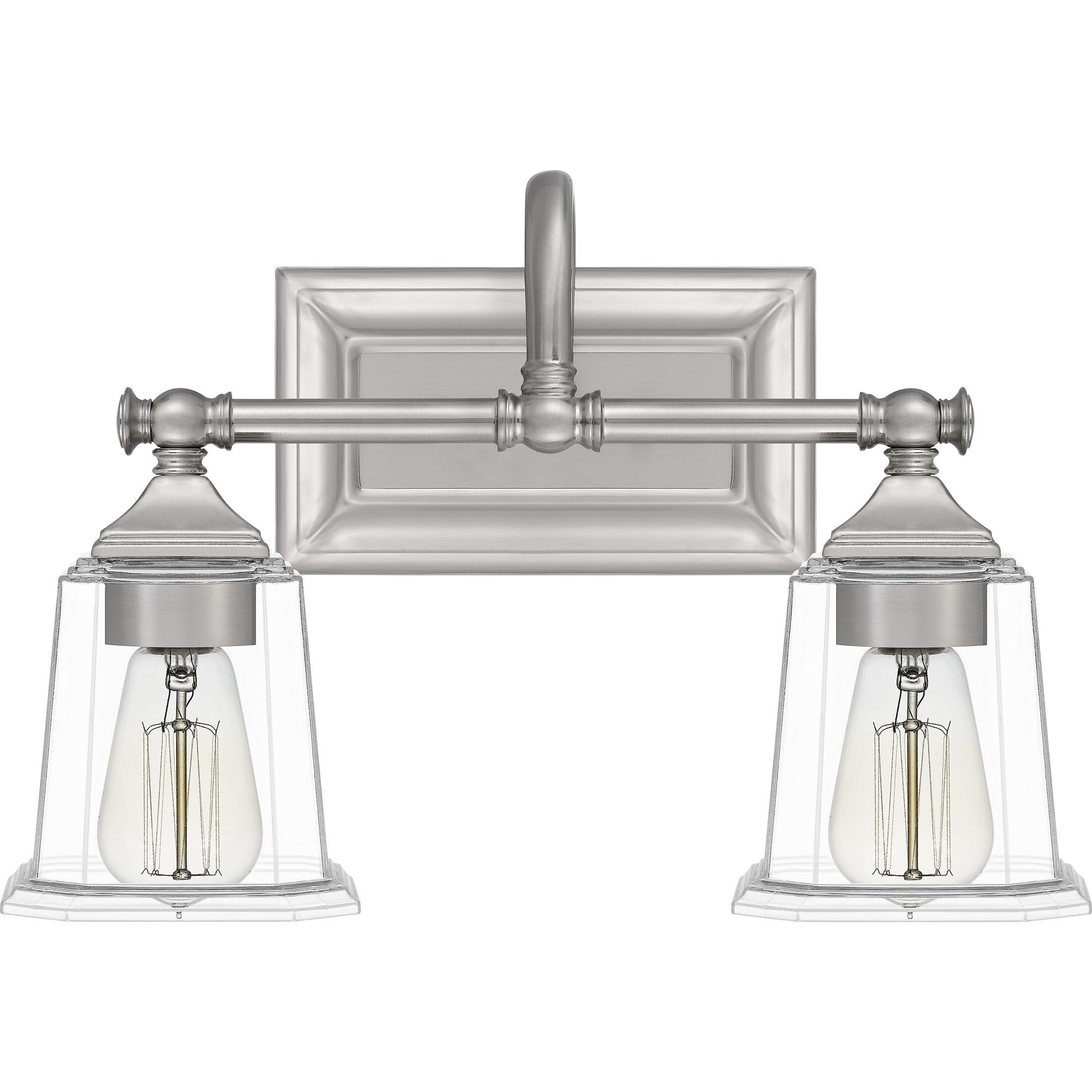 "Photo of Quoizel Nicholas 2-Light 15 ""bathroom vanity lamp made of brushed nickel"