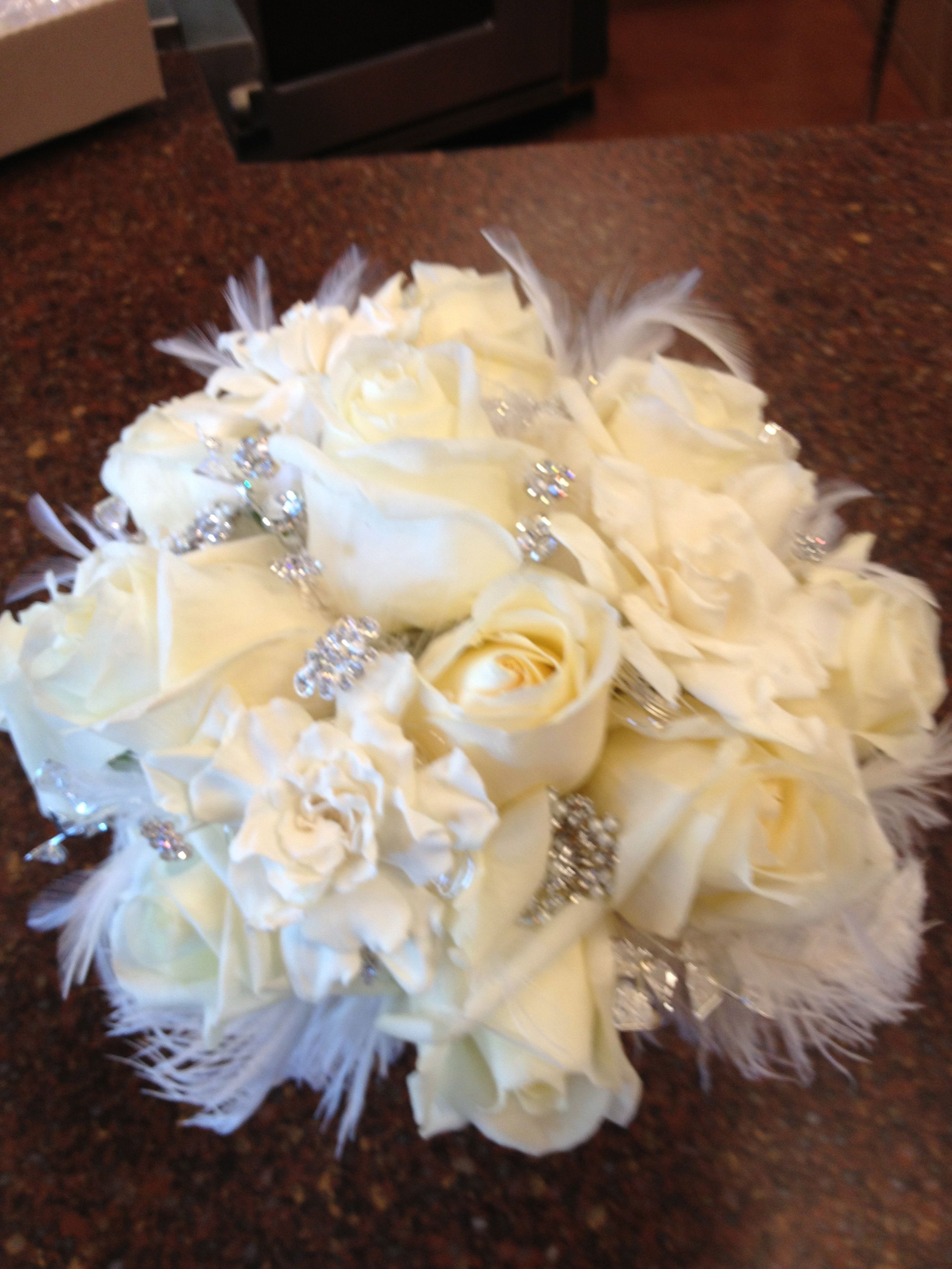 Bridal Bouquet With Feathers And Rhinestones And Fresh Gardenias