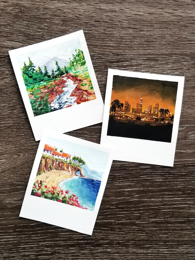 I Ve Been Making These Painted Polaroids To Improve My Skills With Gouache Somethingimade Small Canvas Art Mini Canvas Art Art