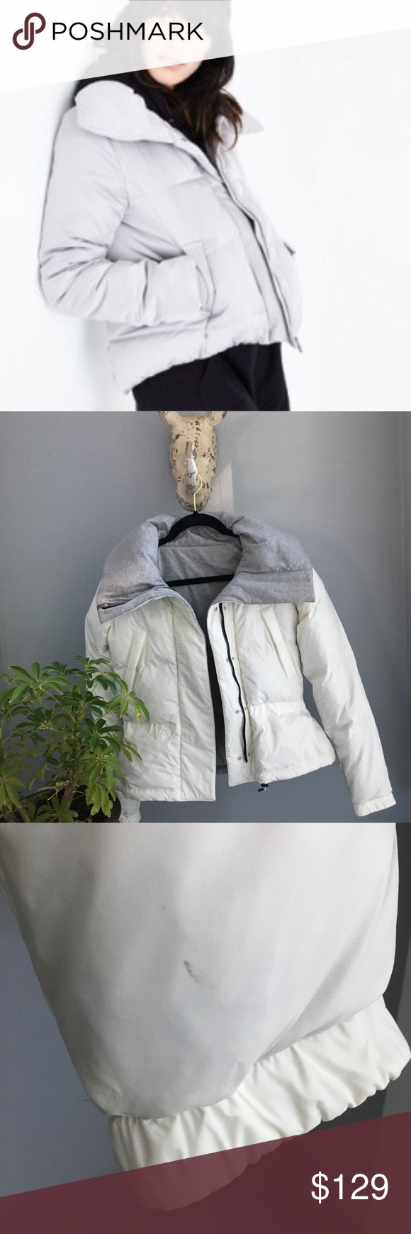 Reebok Puffer Jacket White Grey Reversible Jacket Gorgeous Reversible Grey White Jacket By Reebok Excellent Pr Clothes Design Reversible Jackets Cropped Style [ 1740 x 580 Pixel ]