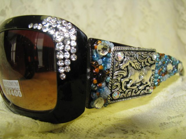 656a9c5e64ff Turquoise Brown Wild Horse Concho Western Sunglasses-Turquoise ...