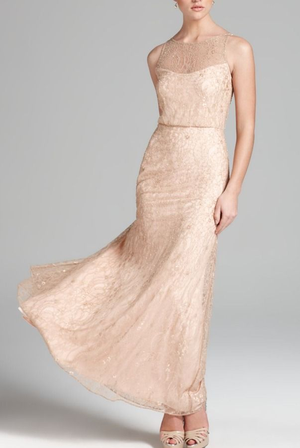 aidan Mattox Pink Blouson Gown Sleeveless Beaded Blush dress ...