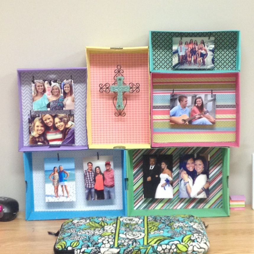 A little decor I made for my dorm! :) get old shoe boxes, paint them, put scrapbook paper in the back. Stick fishing wire through each box however you want it and then hot glue the boxes together! hang what you want inside! Shoe box shelves!