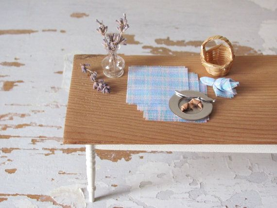 Lavender Blue Pink Yellow Plaid Spring #Dollhouse #Miniature Decor by @MiddleStreetMinis